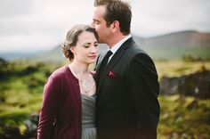 Love the grey and deep red/burgundy color combination. Looks great with a dark lip and a groom in a classic black suit. Idyllic Iceland Wedding: Brandy + Justin
