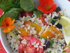 Colorful Rice Salad - Nasturtiums and basil!!