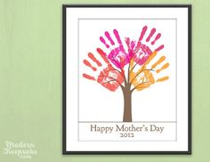 Since my girls are too young to shower me with mother's day gifts.. I think I'll make myself this adorable hand print tree for my present. I'll put this on our family tree wall.