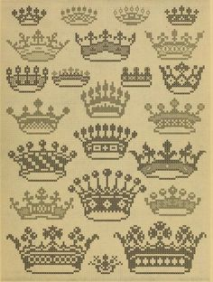 """We all need a tiara, don't we? From """"Album de Broderies au Point du Croix"""", a cross stitch pattern book in the public domain. Download this lovely book in pdf, kindle or epub format here: https://archive.org/stream/albumdebroderies003dill"""