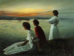 Harald Slott-Møller (1864-1937) Sankt Hans - Tre unge damer nyder den lune sommeraften