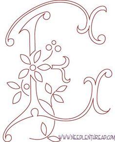 Pattern livre para Monogramas bordadas à mão: a letra E