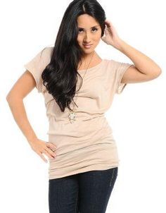 Camile Solid Top Beige. Pair this solid top with leggings a cardigan and cozy boots for a relaxed look.. See More Blouses and Shirts at http://www.ourgreatshop.com/Blouses-Shirts-C78.aspx