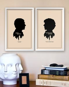 Sherlock Holmes and John Watson Victorian Silhouette Prints