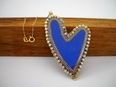 Blue Heart pendant necklace Sterling silver Asymmetric Blue and gold heart pendant Gold filled chain dotted heart Bridal gift by Hila Welner
