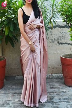 Buy Pinkish Mauve Satin Dupion Silk Taping Saree - Sarees Online In India Colo . Indian Fashion Dresses, Dress Indian Style, Indian Designer Outfits, Indian Fashion Trends, Indian Wear, Fashion Outfits, Indian Wedding Outfits, Indian Outfits, Saree For Wedding