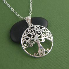 Large filigree tree of life pendant necklace in sterling silver, family tree jewelry, large pendant, long chain