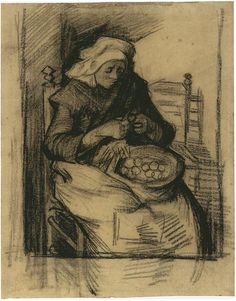 Vincent van Gogh Woman Peeling Potatoes Drawing