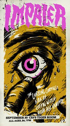 Jake Sauer poster for Impaler Art And Illustration, Illustrations And Posters, Band Posters, Music Posters, Retro Posters, Event Posters, Punk Art, Cover Art, Art Of Noise