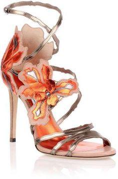 Jimmy Choo Lolita 100 orange metallic sandal