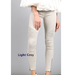 Light Grey Moto Jeggings Zipper Stretch Motorcycle Leggings Skinny Jeans S M L Motto Leggings, Denim Leggings, Leggings Fashion, Jeggings Outfit, Leggings Style, Pants Outfit, Shorts, Moto Pants, Trousers