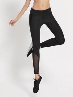 Bodycon Yoga Voile Leggings - BLACK S