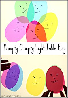 Nursery rhymes on the light table: exploring colour mixing and encouraging storytelling based on Humpty Dumpty from And Next Comes L