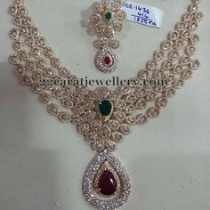 Jewellery Designs: 4 Rows Diamond Look CZ Set