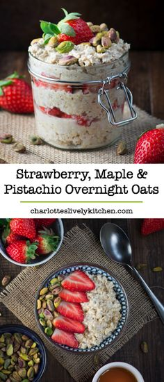 Start your day with these quick, easy and totally delicious strawberry, maple and pistachio overnight oats. Naturally dairy-free and suitable for vegans.