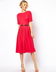ASOS Midi Dress With Full Skirt And Belt - pink - 42