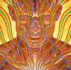 Contemplation - 2002, Oil on Wood, 20 x 20 in. Alex Grey