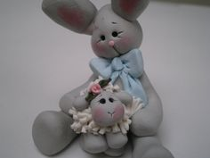 Handsculpted Polymer Clay Bunny Rabbit holding a by HelensClayArt, $13.95