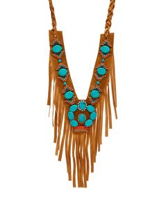 Look at this #zulilyfind! Turquoise & Brown Faux Suede Beaded Tassel Necklace by Oori Trading #zulilyfinds
