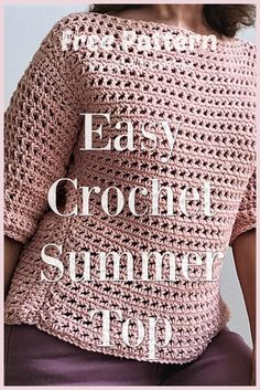 Free pattern for this easy crochet summer top with 3/4 sleeves. Perfect transition piece for spring to summer. #crochetsummertop #easycrochettop #crochetspringtop #easycrochetspringtop #crochetsummersweater #easycrochetsleeves #freecrochetpatterns #crochetfreepatterns #crazycoolcrochet Crochet Tank Tops, Crochet Summer Tops, Crochet Shirt, Crochet Cardigan, Crochet Gifts, Diy Crochet, Crochet Sweaters, Crochet Patterns For Beginners, Easy Crochet Patterns
