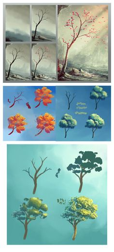 55 Trendy Tree Drawing Tutorial Step By Step Landscape Paintings Digital Art Tutorial, Digital Painting Tutorials, Art Tutorials, Digital Paintings, Landscape Drawings, Landscape Paintings, Art Drawings, Landscape Design, Landscape Art