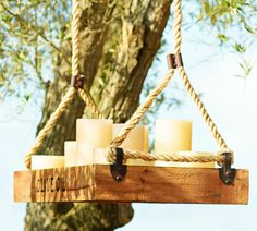 Hanging wedding ceremony decor ideas, flameless candles in vintage crate