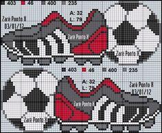 Billedresultat for punto cruz bebes futbol Cross Stitch Letters, Cross Stitch For Kids, Cross Stitch Borders, Cross Stitch Baby, Cross Stitch Charts, Cross Stitching, Cross Stitch Embroidery, Hand Embroidery, Beading Patterns