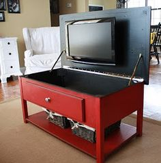 The Amazing Red Coffee Table with the hidden TV!