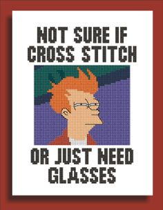 Futurama inspired Fry Internet Meme Funny Cross Stitch Pattern, via Etsy. Funny Cross Stitch Patterns, Cross Stitch Designs, Cross Stitching, Cross Stitch Embroidery, Stitch Witchery, Needlework, Diy, Needlepoint, Crossstitch