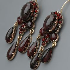 Antique Victorian Earrings with Rose-cut Garnets in Garnet Gold