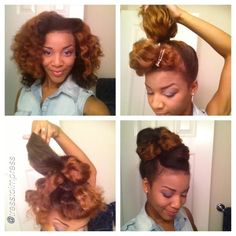 """Luv this updo by """"STYLE TUTORIAL REQUESTED for the updo I posted a couple of days ago. start with detangled hair, mine is a combed Bantu knot out the front section out if the way and secure the remaining hair in a high,. Natural Hair Updo, Natural Hair Styles, My Hairstyle, Cool Hairstyles, Black Power, Pelo Afro, Natural Hair Inspiration, Love Hair, Hair Dos"""