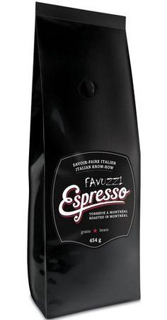 Favuzzi artisanal espresso coffee roasted in Montréal by Café Barista - beans