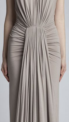 Draped dress with micro pleats & ruched sides; sewing; fabric manipulation; draping; fashion design detail // Rick Owens: