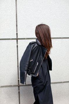 India Rose. Leather biker jacket. #minimal #outfit