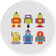 Charts Club Members Only: Tiny Robots Cross Stitch Pattern