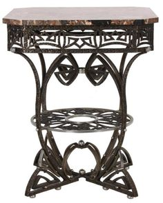 Art Deco Wrought Iron Table With Tan And Gray Square Marble Top With Chamfered Corners, Iron Base Has A Two Tone Brown And Silvered Finish With Pierced Deco Apron, Four Serpentine And Scrolling Legs With Silvered Spherical Hammered Mounts And A Round Lower Tier With Open Center