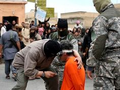 a man is crucified in syria by Islamic extremists