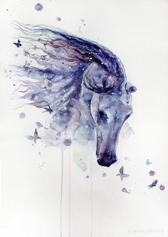 Watercolour Horse by Elena Shved.