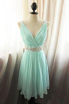 Simple V-neck Short Chiffon Minr Beaded Homecoming Dresses Wite Straps,Cute Dresses,Party Dresses,Bridesmaid Dresses