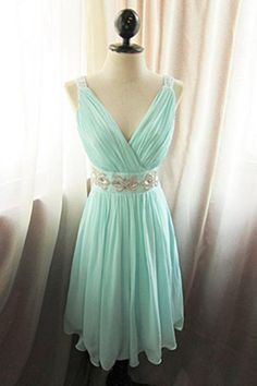 Simple V-neck Short Chiffon Minr Beaded Homecoming Dresses Wite Straps,Cute Dresses,Party Dresses,Bridesmaid Dresses