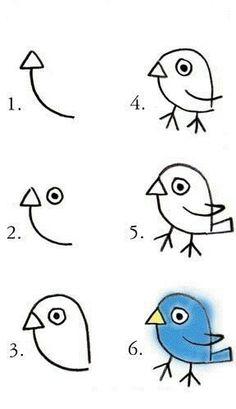 tiere-malen-mit-kindern-dekoking-com Dessin ? Drawing For Kids, Art For Kids, Crafts For Kids, Simple Bird Drawing, Kid Art, Fall Crafts, Bird Drawings, Easy Drawings, Art Plastique