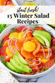 15 fresh and healthy winter salad recipe ideas! Recipes with citrus fruits, apples and pears, or vegetables to keep you healthy in the fall and winter months! Winter Salad Recipes, Vegetarian Salad Recipes, Sprouts Salad, Brussel Sprout Salad, Broccoli Salad With Cranberries, Creamy Avocado Dressing, Squash Salad, Citrus Fruits, Walnut Salad