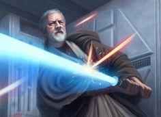 Obi-Wan Kenobi using Soresu to deflect blaster fire by Anthony Foti