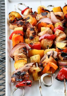 Grilled Pineapple Chicken Kabobs | Tis the season for grilling! Delicious recipe for chicken kabobs.
