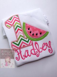 Baby Girl Birthday Watermelon bodysuit or shirt-- Summertime Sweet -- hot pink, pink & lime watermelon theme by DarlingLittleBowShop on Etsy (null)