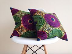 2 African Print Pillow Covers  Home Decor  by JuneThirty on Etsy, £35.00