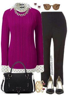 Plus Size Berry Sweater Work Outfit - Plus Size Fashion for Women - alexawebb.com #alexawebb