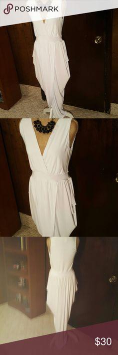 Beautiful white evening dress Faux wrap evening white dress Dresses