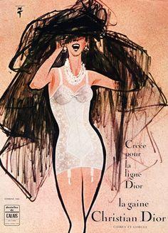 Christian Dior (Lingerie) 1960 René Gruau (Version C) Girdle Dentelles de Calais Publicité ancienne Lingerie illustrée par René Gruau | Hprints.com
