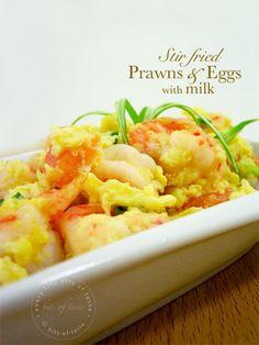 Stir fry prawns & eggs with milk